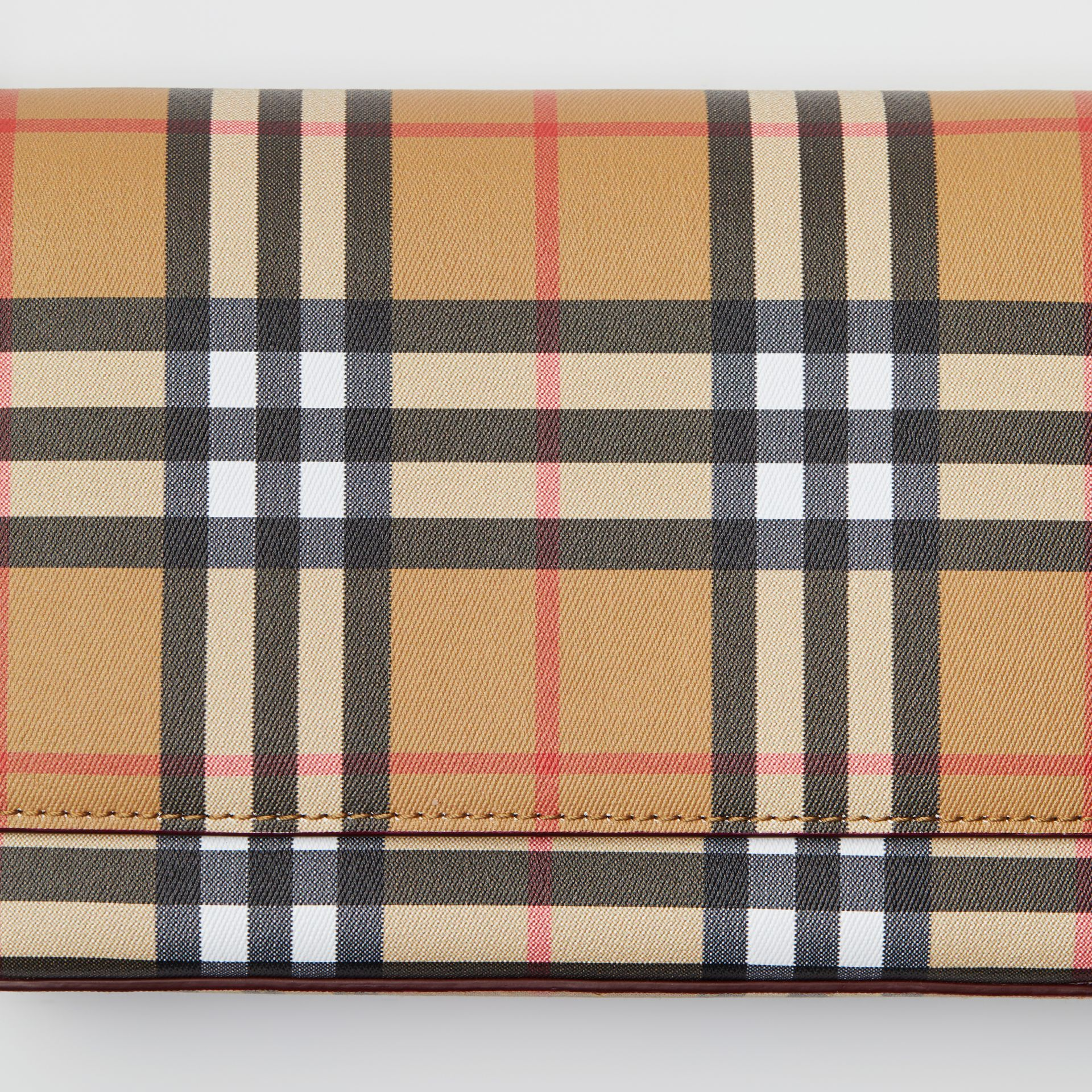 Vintage Check and Leather Wallet with Detachable Strap in Crimson - Women | Burberry Singapore - gallery image 1