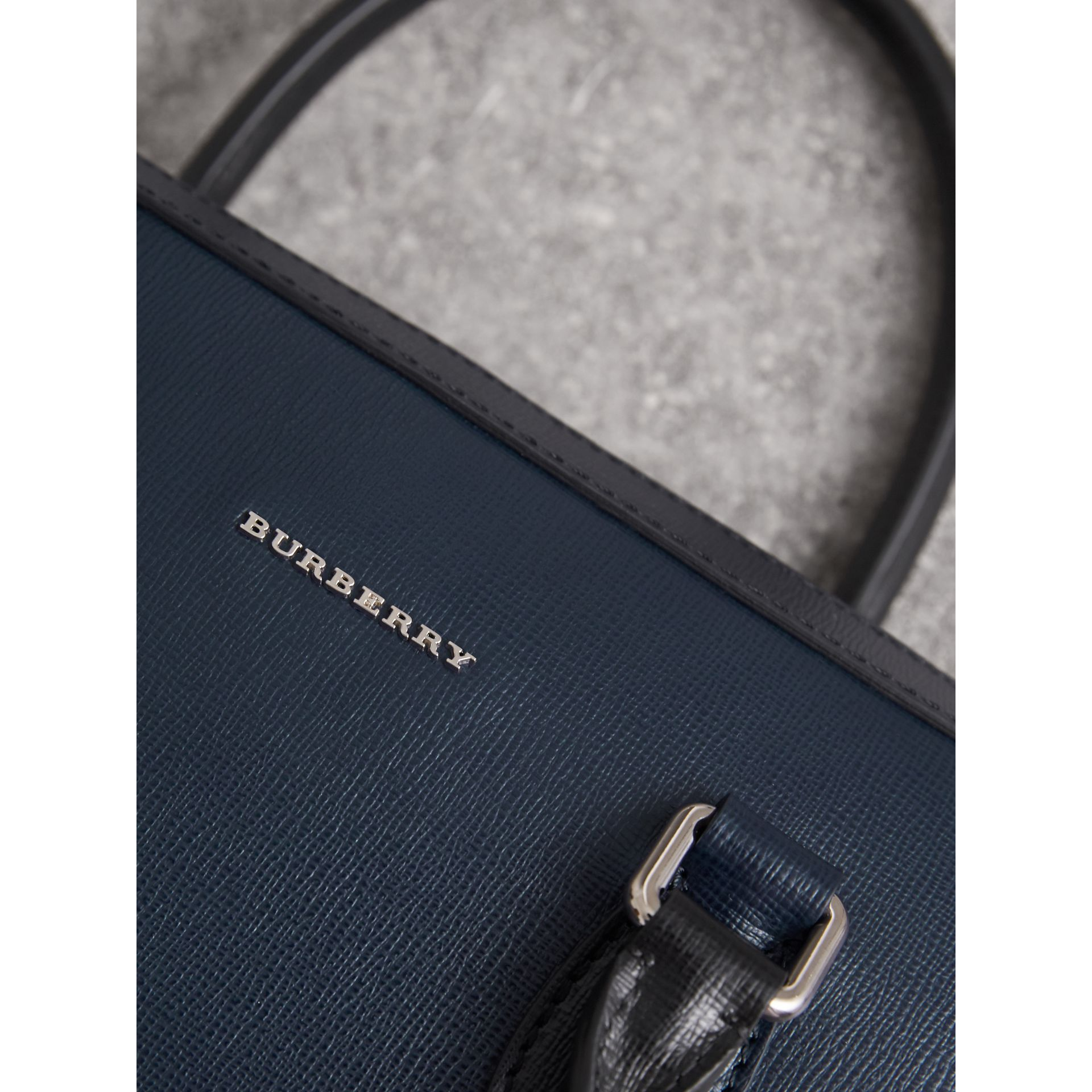 London Leather Briefcase in Dark Navy/black - Men | Burberry - gallery image 7