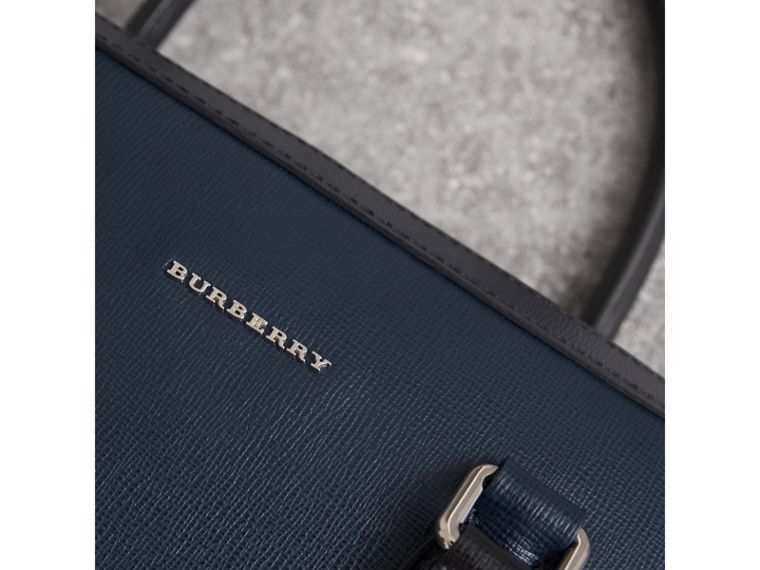 London Leather Briefcase in Dark Navy/black - Men | Burberry - cell image 4