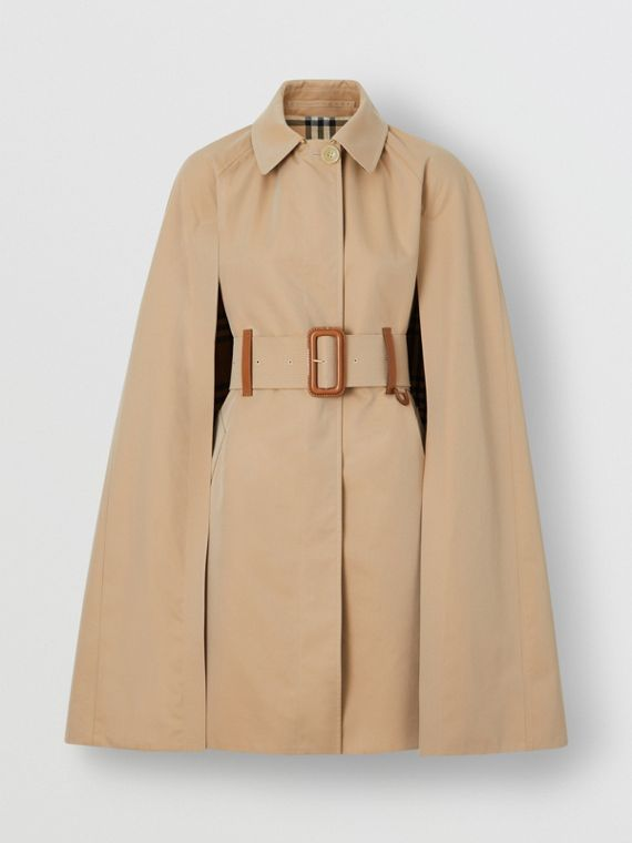 Leather Detail Cotton Gabardine Belted Cape in Honey
