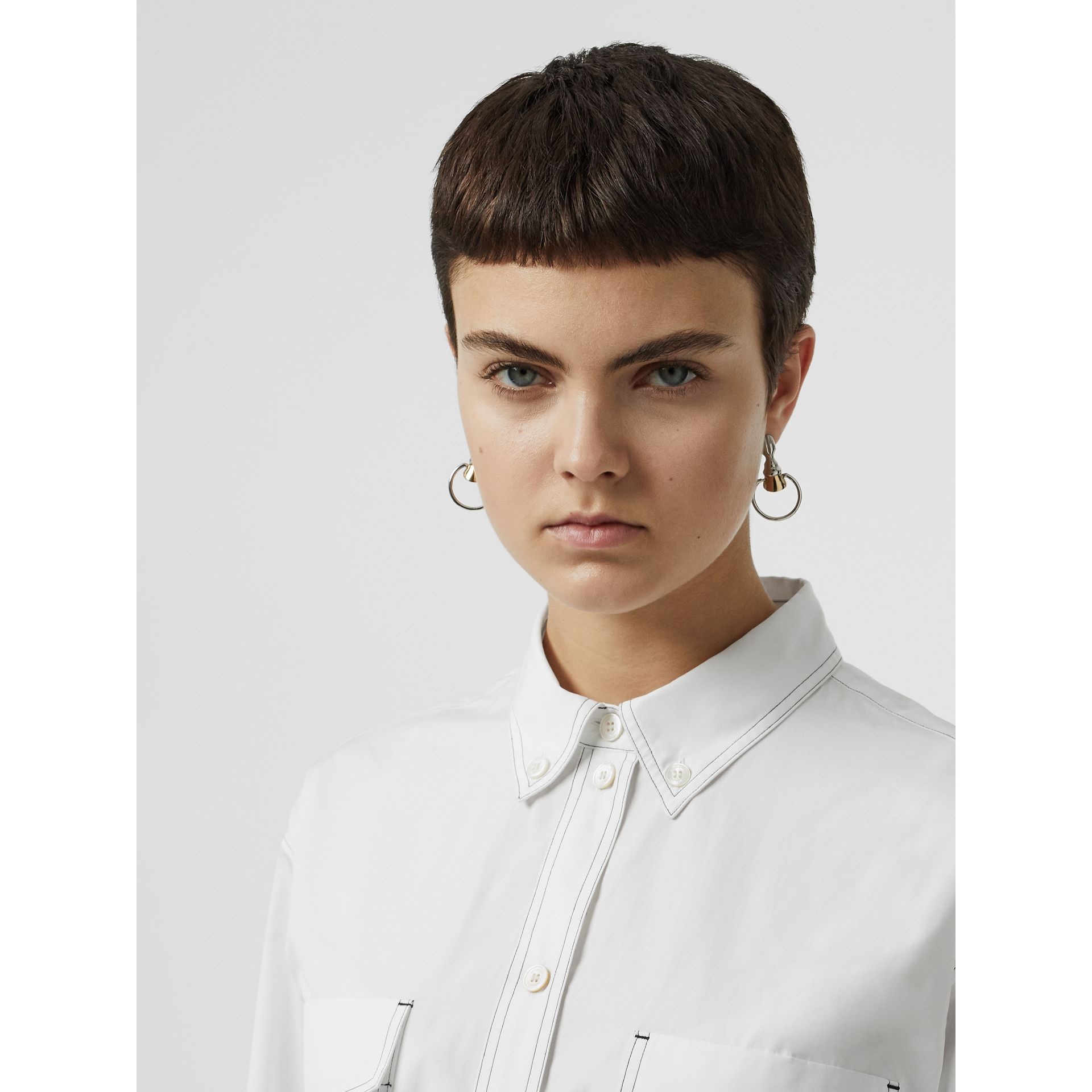 Topstitch Detail Cotton Poplin Shirt Dress in White - Women | Burberry United States - gallery image 4