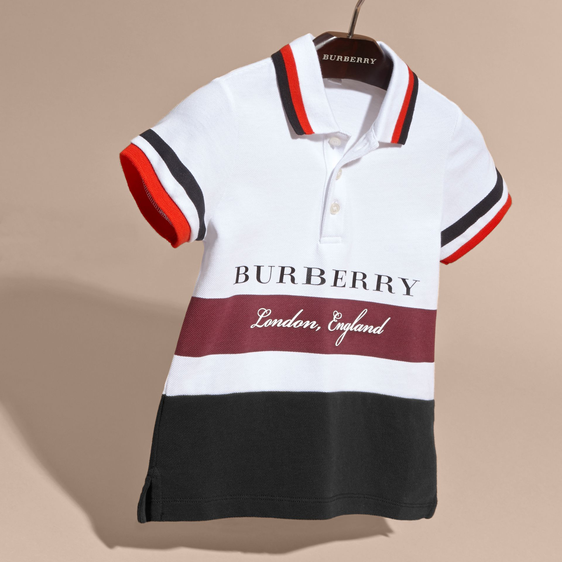 Striped Detail Cotton Polo Shirt Claret - gallery image 3