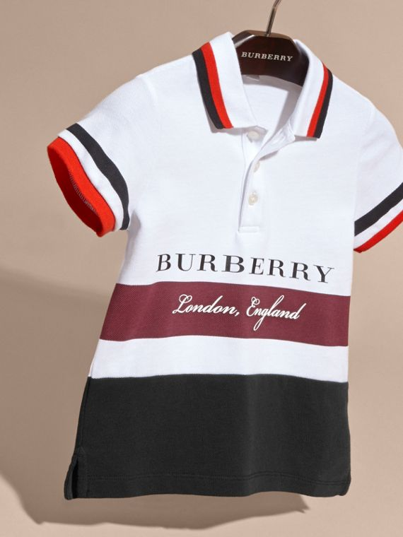Striped Detail Cotton Polo Shirt in Claret - cell image 2