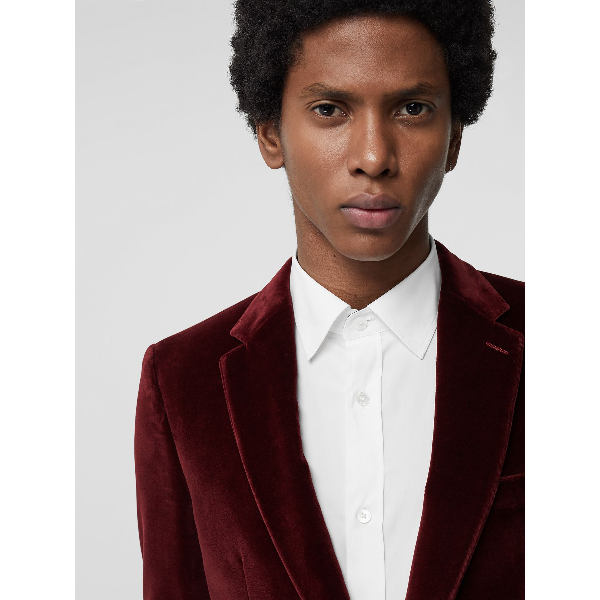 Classic Fit Velvet Tailored Jacket in Burgundy - Men | Burberry - gallery image 1