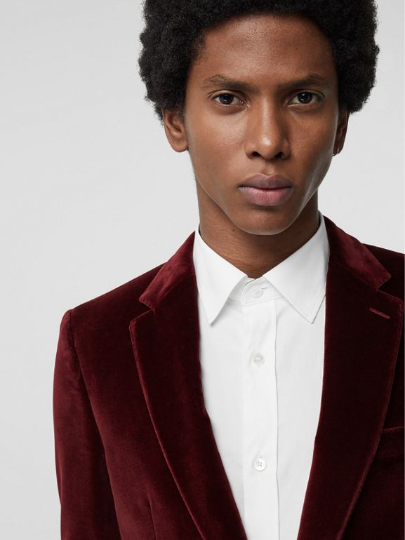 Classic Fit Velvet Tailored Jacket in Burgundy - Men | Burberry - cell image 1