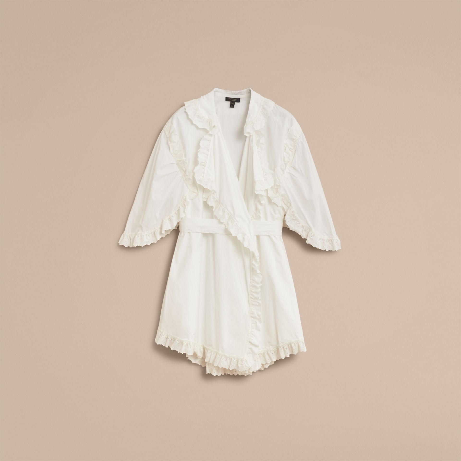 Broderie Anglaise Ruffle Cotton Dress in White - Women | Burberry - gallery image 4