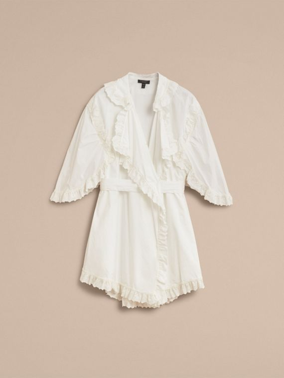 Broderie Anglaise Ruffle Cotton Dress in White - Women | Burberry - cell image 3