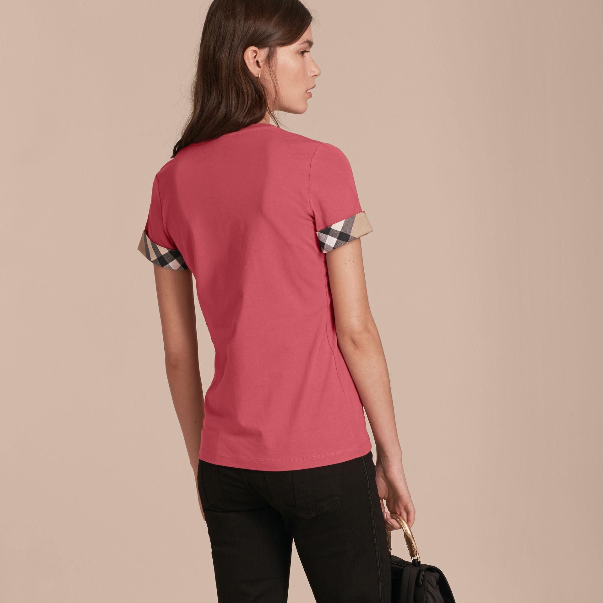 Check Trim Stretch Cotton T-shirt Pink Azalea - gallery image 3