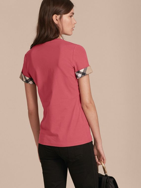 Pink azalea Check Trim Stretch Cotton T-shirt Pink Azalea - cell image 2