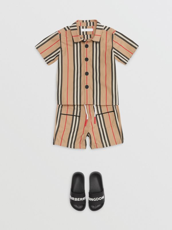 Short-sleeve Icon Stripe Cotton Shirt in Archive Beige - Children | Burberry - cell image 2