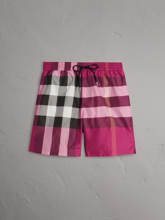 Check Drawcord Swim Shorts in Bright Fuschia