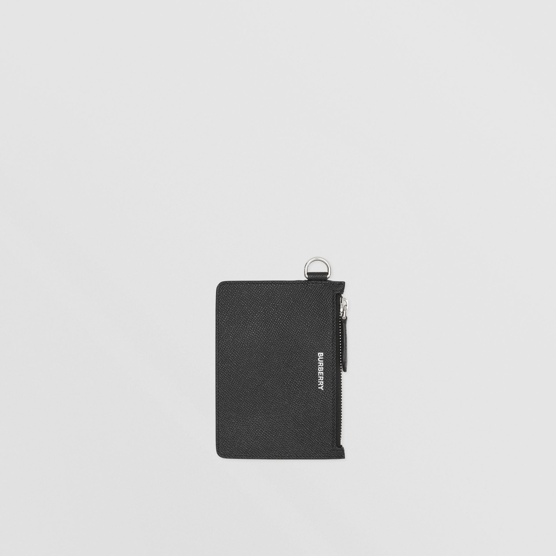 Grainy Leather Zip Coin Case in Black - Men | Burberry United Kingdom - gallery image 2