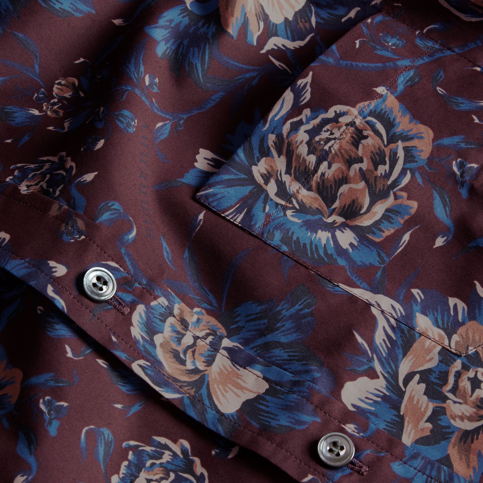 Deep claret Short-sleeved Peony Rose Print Cotton Shirt - gallery image 2