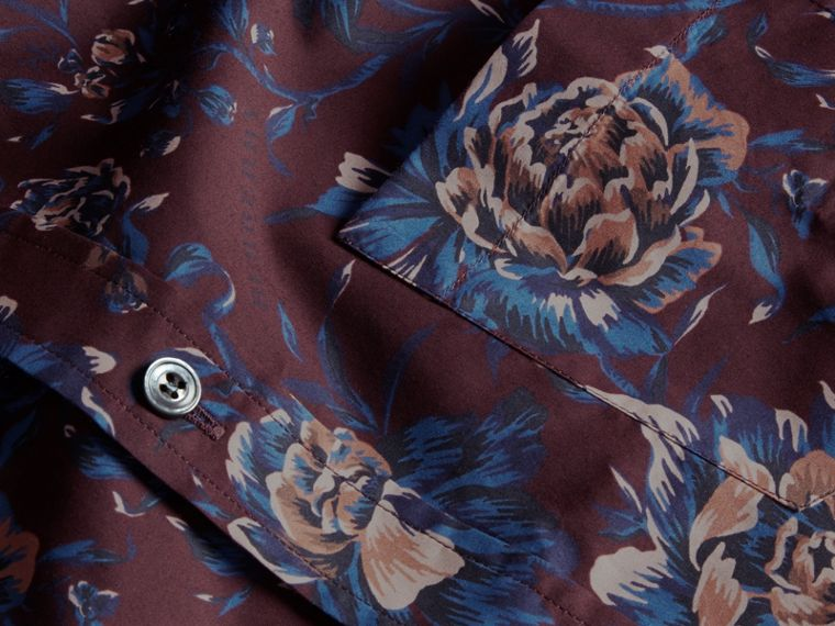 Deep claret Short-sleeved Peony Rose Print Cotton Shirt - cell image 1