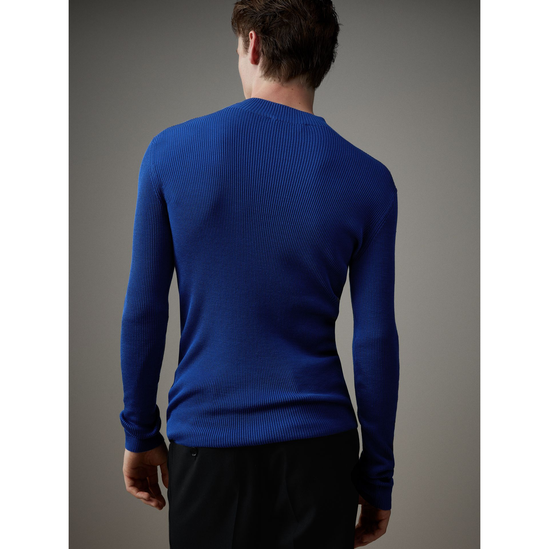 Rib Knit Silk Fitted Sweater in Brilliant Blue - Men | Burberry Australia - gallery image 3