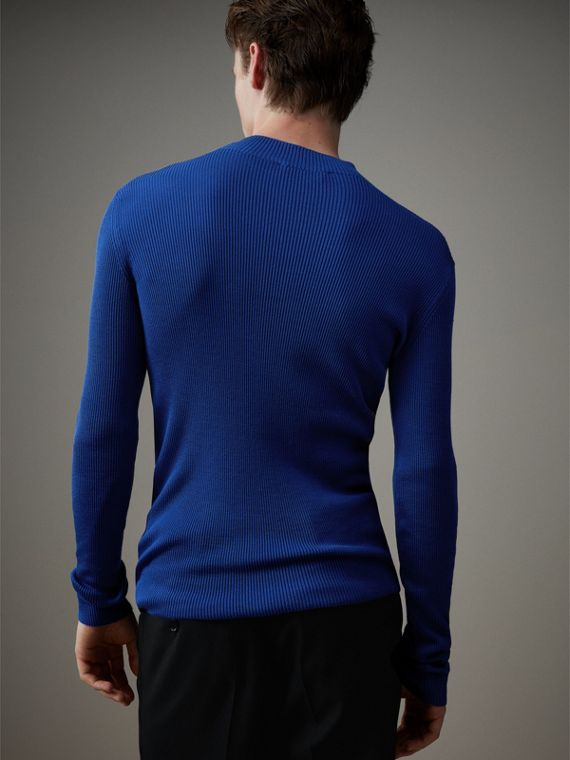 Rib Knit Silk Fitted Sweater in Brilliant Blue - Men | Burberry - cell image 2