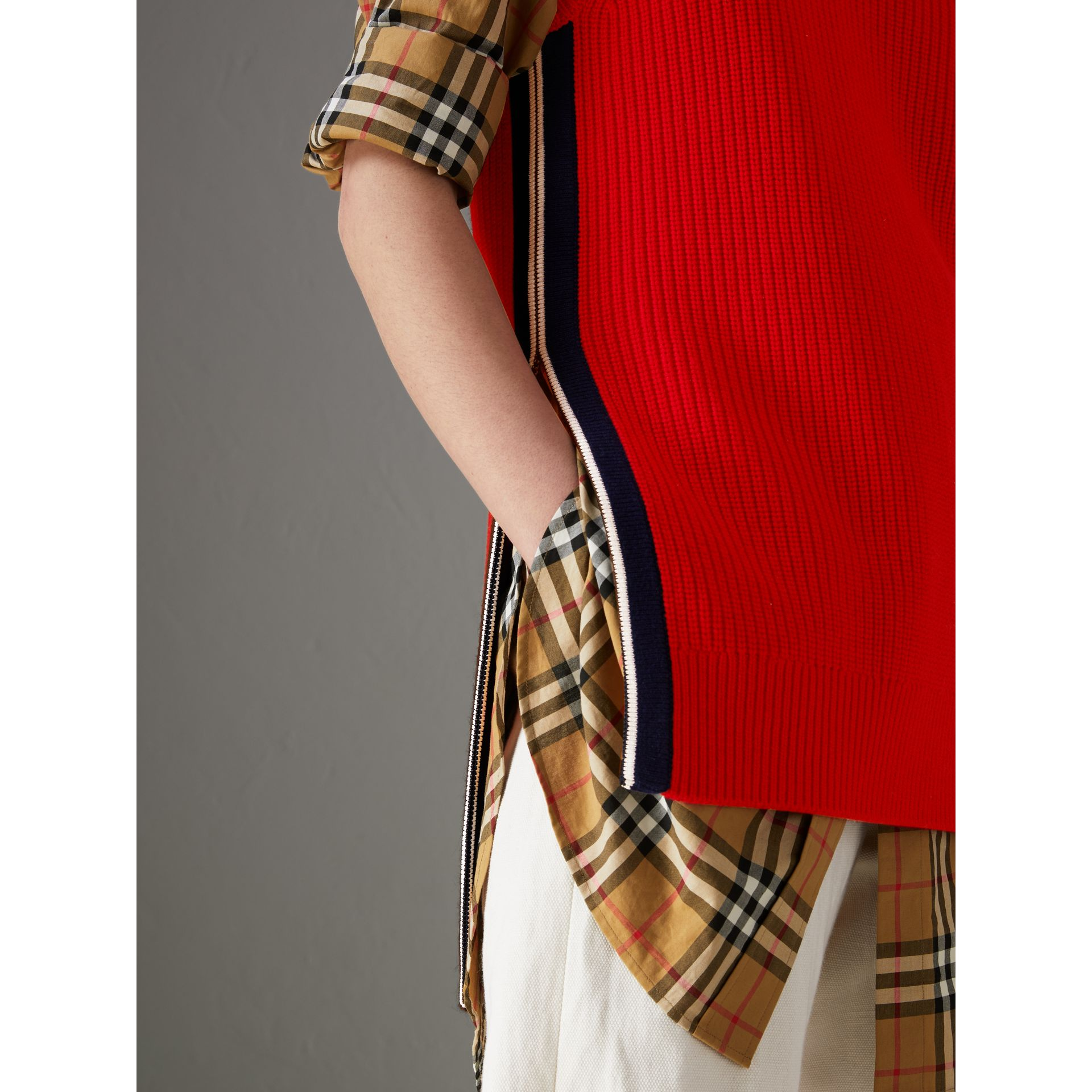 Rib Knit Wool Cashmere Vest in Military Red - Women | Burberry - gallery image 1