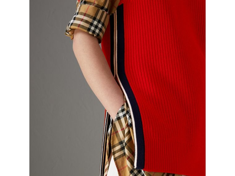 Rib Knit Wool Cashmere Vest in Military Red - Women | Burberry - cell image 1