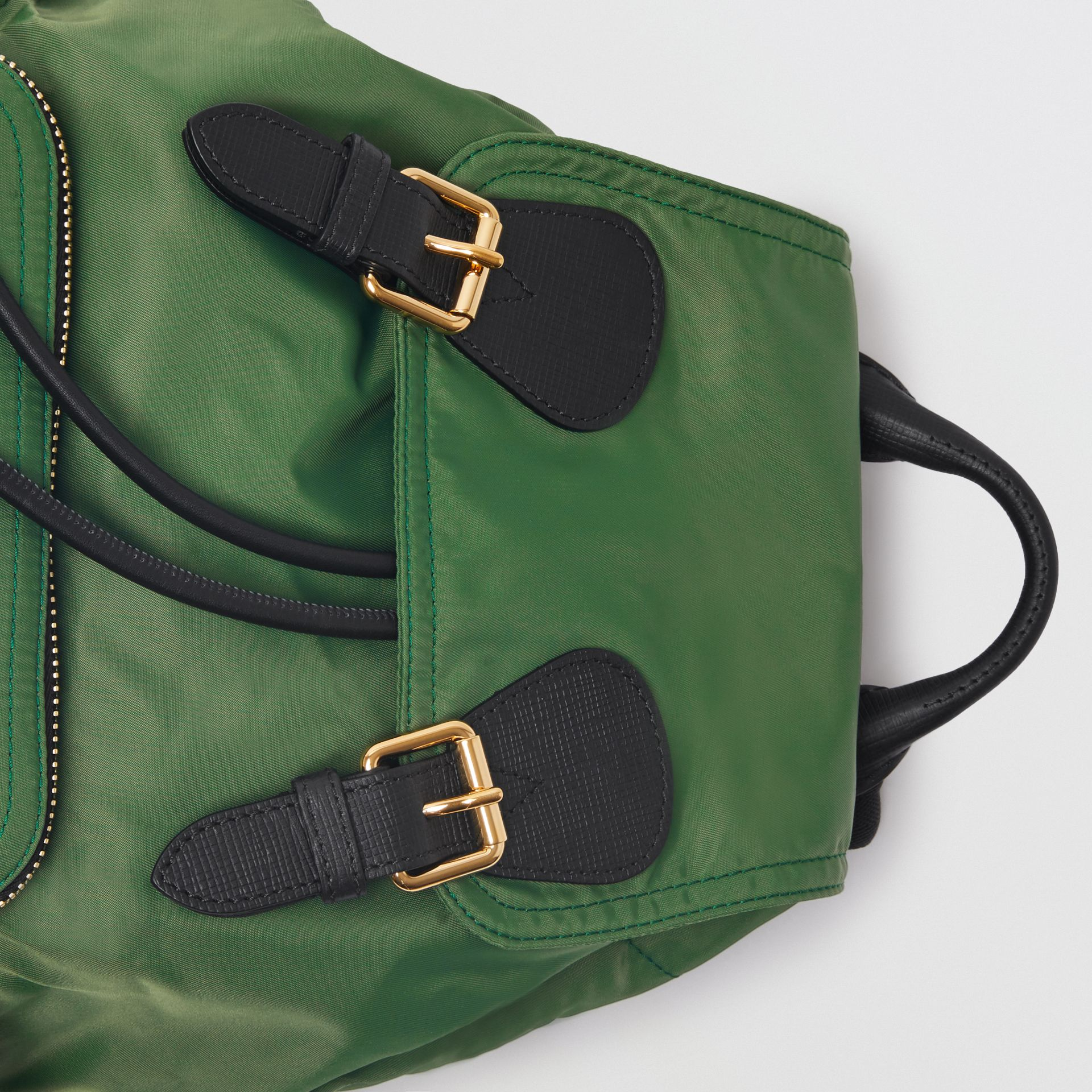 The Medium Rucksack in Technical Nylon and Leather in Racing Green | Burberry - gallery image 1