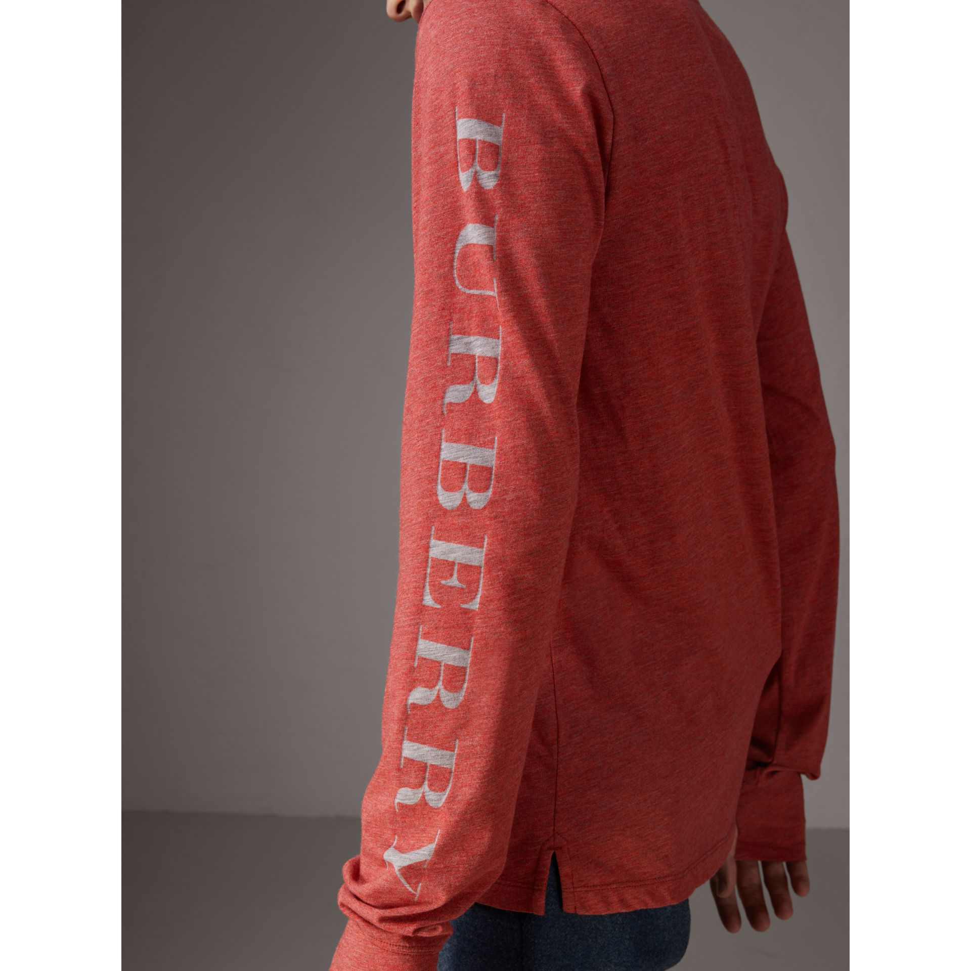 Devoré Jersey Top in Bright Red Melange - Men | Burberry Canada - gallery image 1