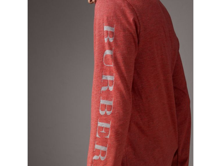 Devoré Jersey Top in Bright Red Melange - Men | Burberry - cell image 1