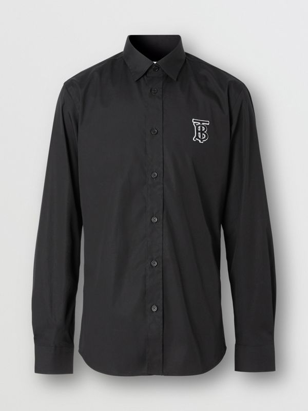 Monogram Motif Stretch Cotton Poplin Shirt in Black - Men | Burberry - cell image 3