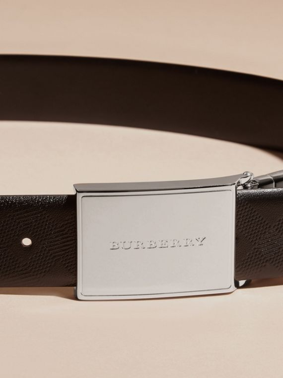Reversible Check Embossed Leather Belt in Black - Men | Burberry - cell image 2