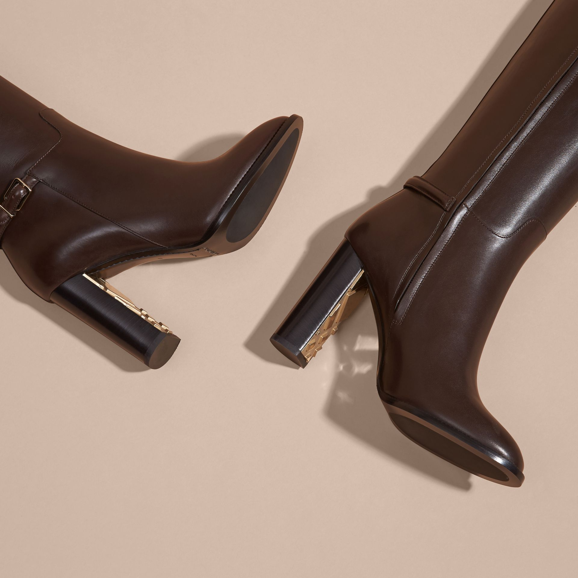 Chestnut Knee-high Leather Boots - gallery image 5