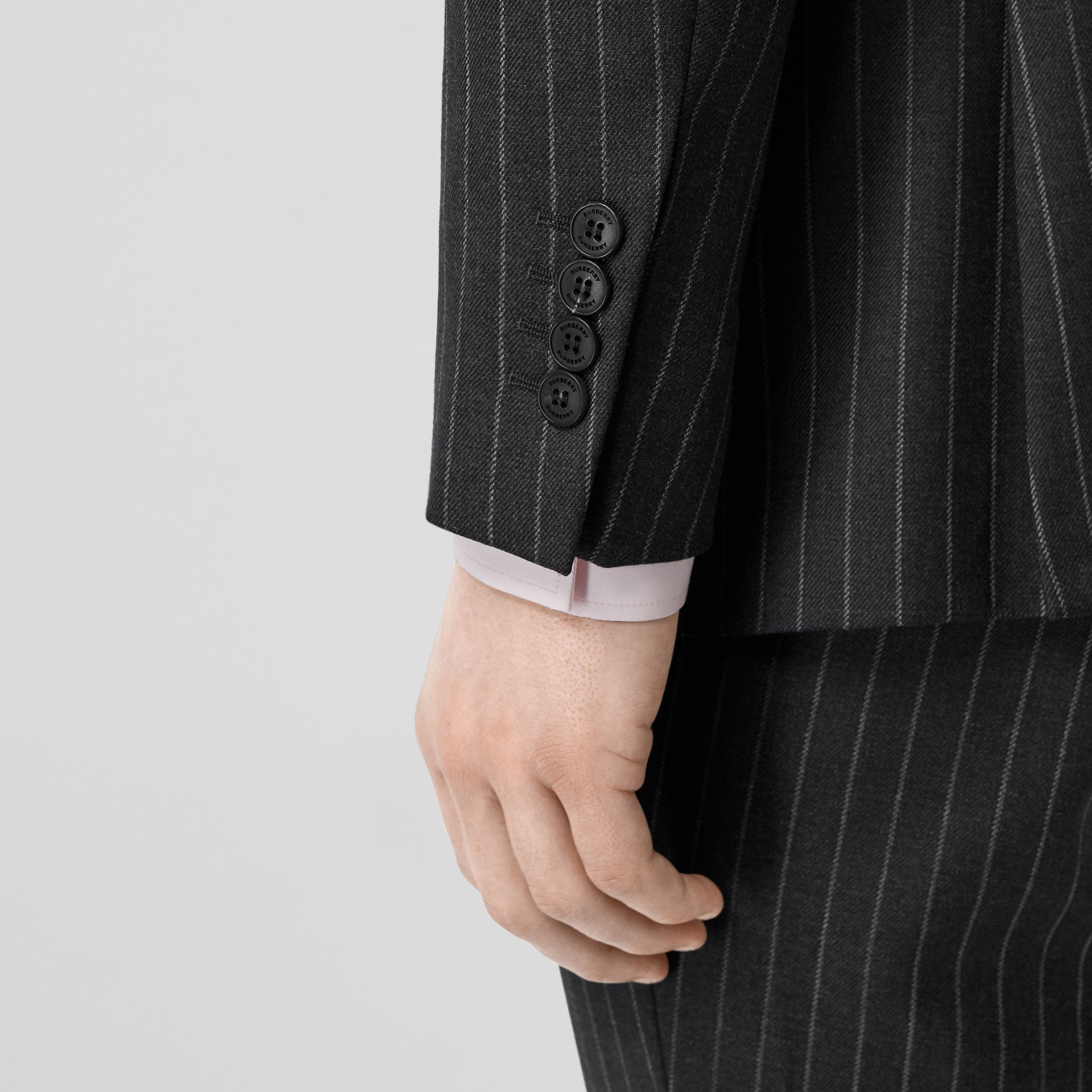 English Fit Pinstriped Wool Suit in Mid Grey Melange - Men | Burberry - gallery image 4