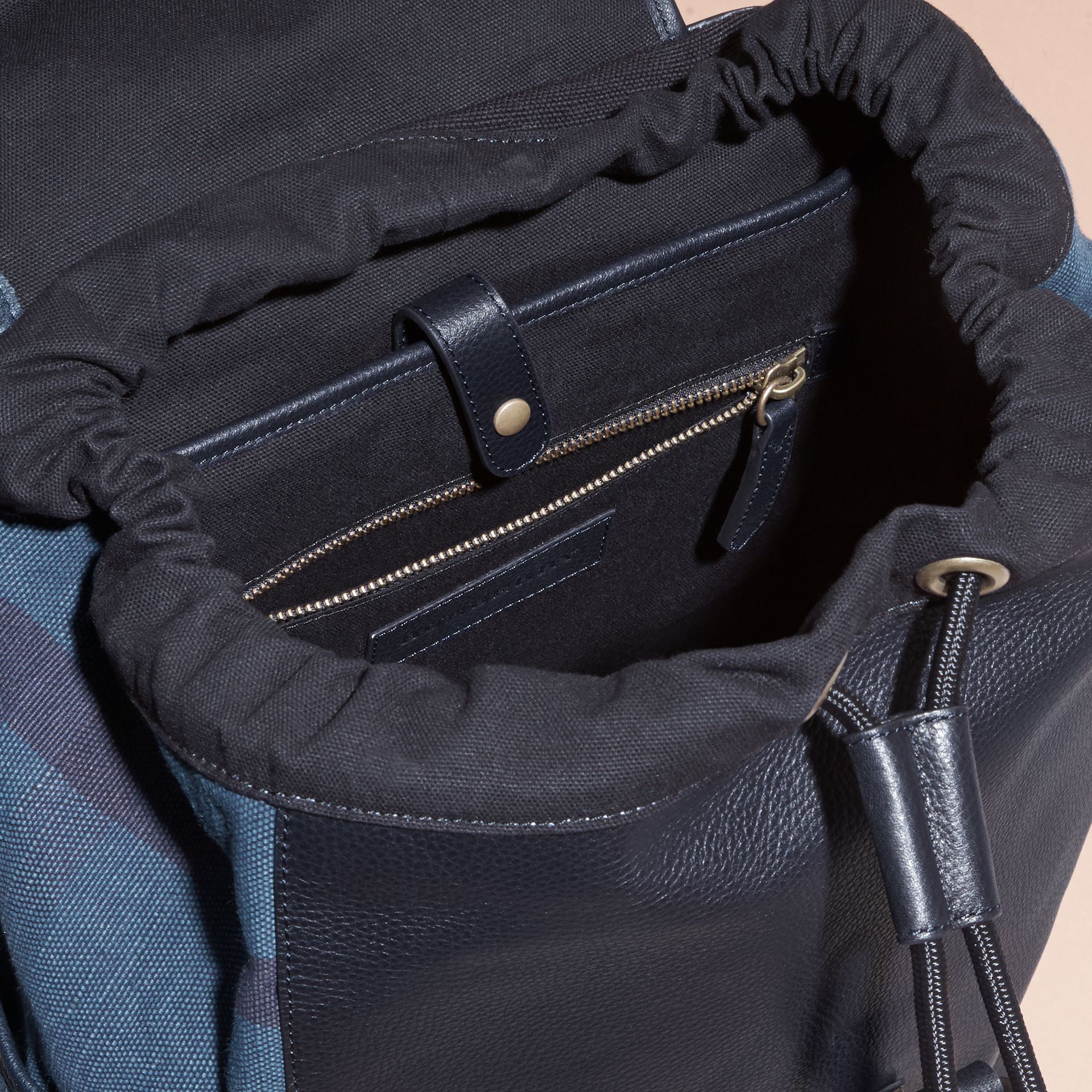 Ultramarine blue Leather and Overdyed Canvas Check Backpack - gallery image 5