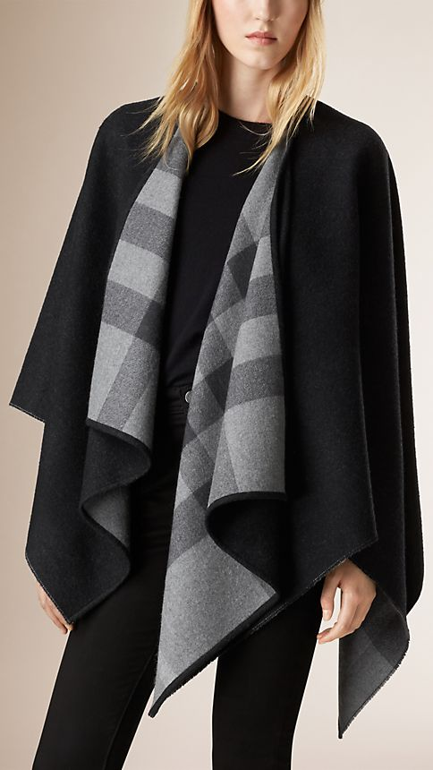 Charcoal check Check-Lined Wool Poncho - Image 1