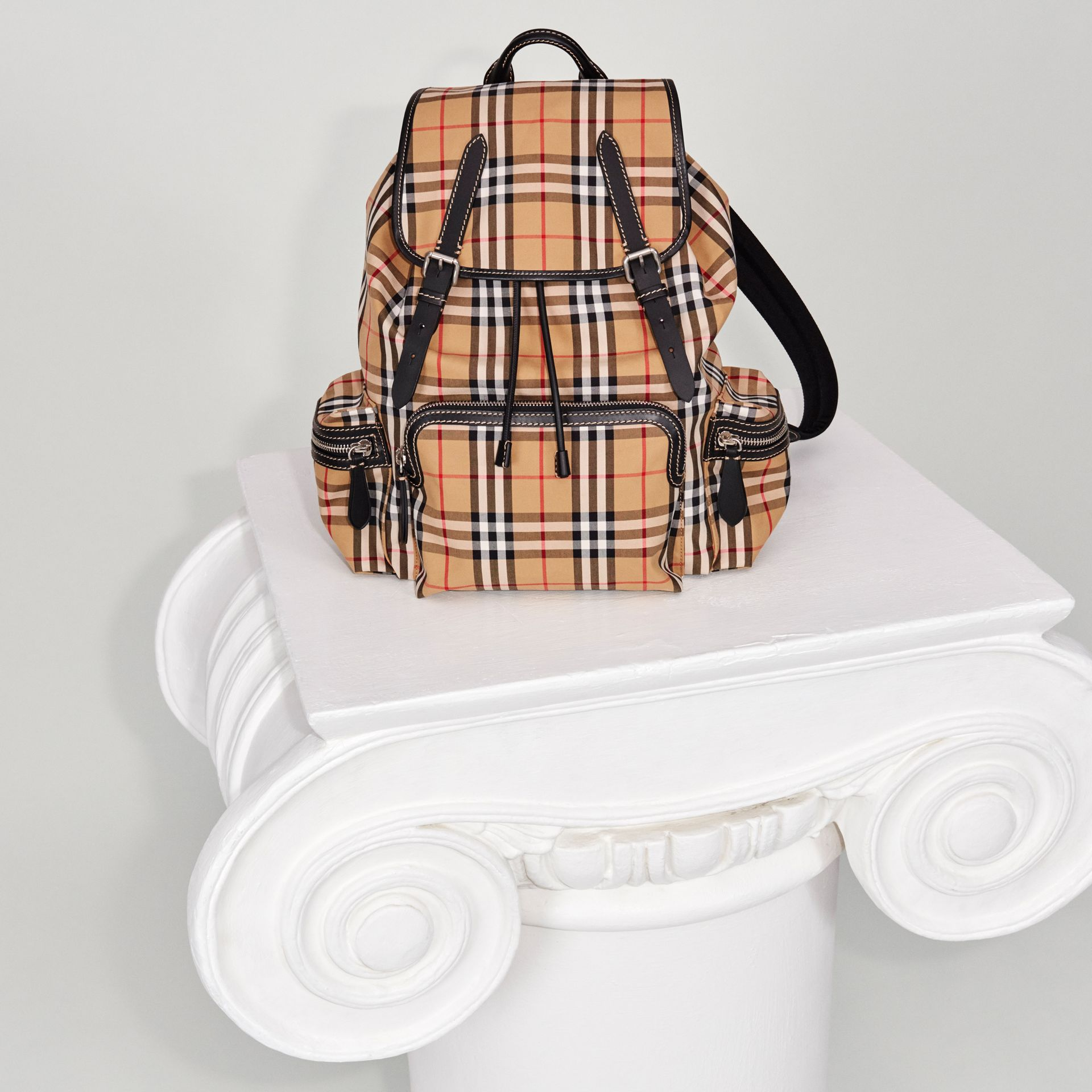 The Large Rucksack in Vintage Check in Antique Yellow - Men | Burberry United Kingdom - gallery image 2