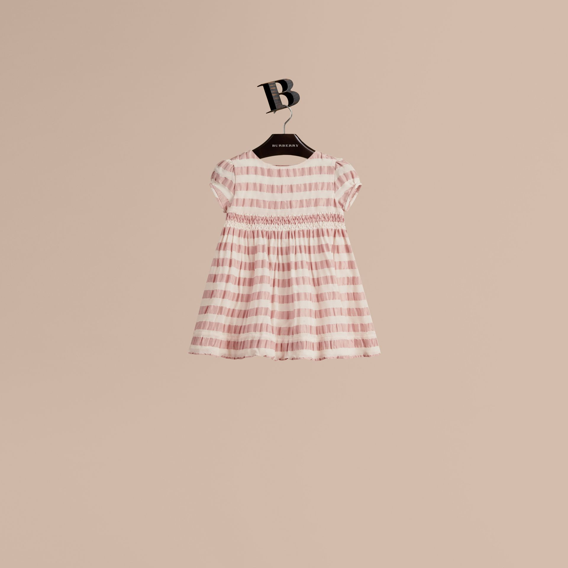 Light copper pink Striped Silk and Cotton Dress - gallery image 1
