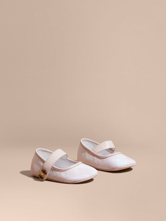 Leather and Tonal Check Cotton Shoes in Ice Pink