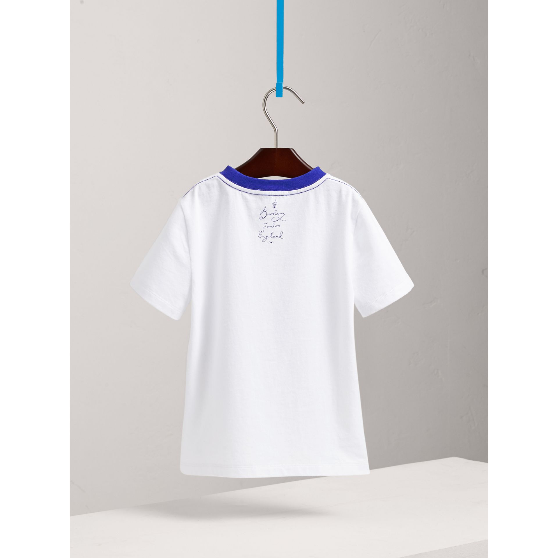 SW1 Print Cotton T-shirt in White - Boy | Burberry United Kingdom - gallery image 3