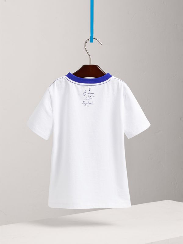 SW1 Print Cotton T-shirt in White | Burberry - cell image 3
