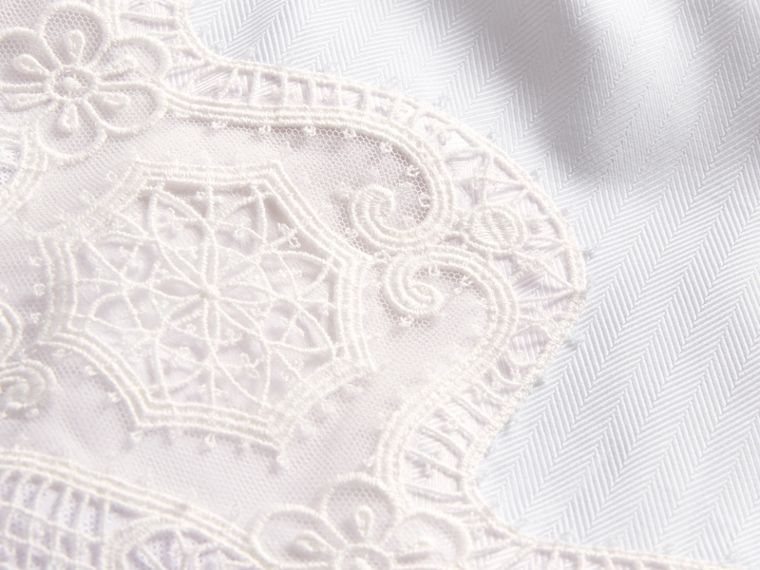 Lace Cutwork Cotton Shirt Dress in White - Women | Burberry - cell image 1