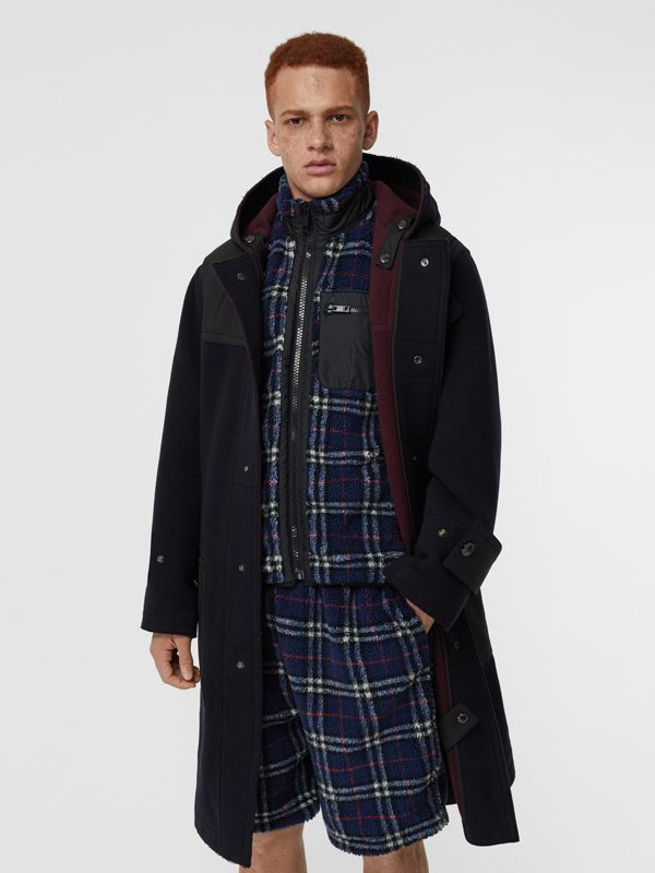 Double-faced Wool Blend Duffle Coat in Navy/burgundy - Men | Burberry Singapore - cell image 3