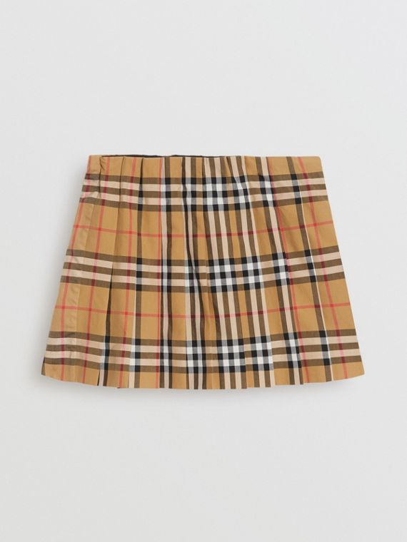 Vintage Check Pleated Skirt in Antique Yellow