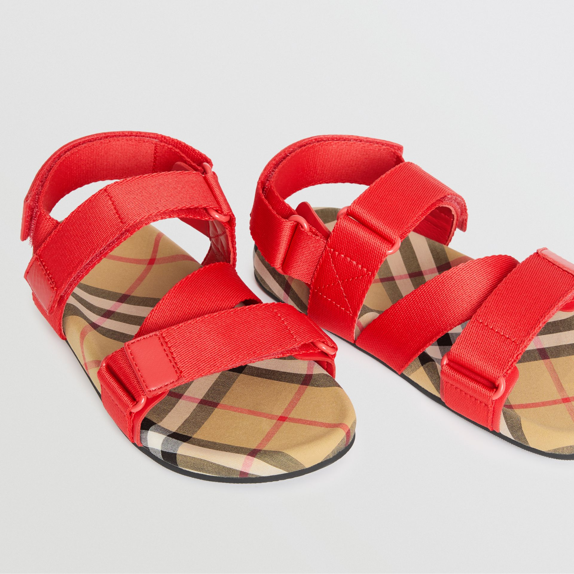Ripstop Strap Vintage Check Cotton Sandals in Bright Red/antique Yellow - Children | Burberry Australia - gallery image 1