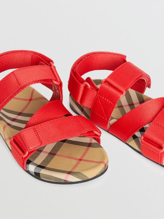 Ripstop Strap Vintage Check Cotton Sandals in Bright Red/antique Yellow - Children | Burberry United States - cell image 1