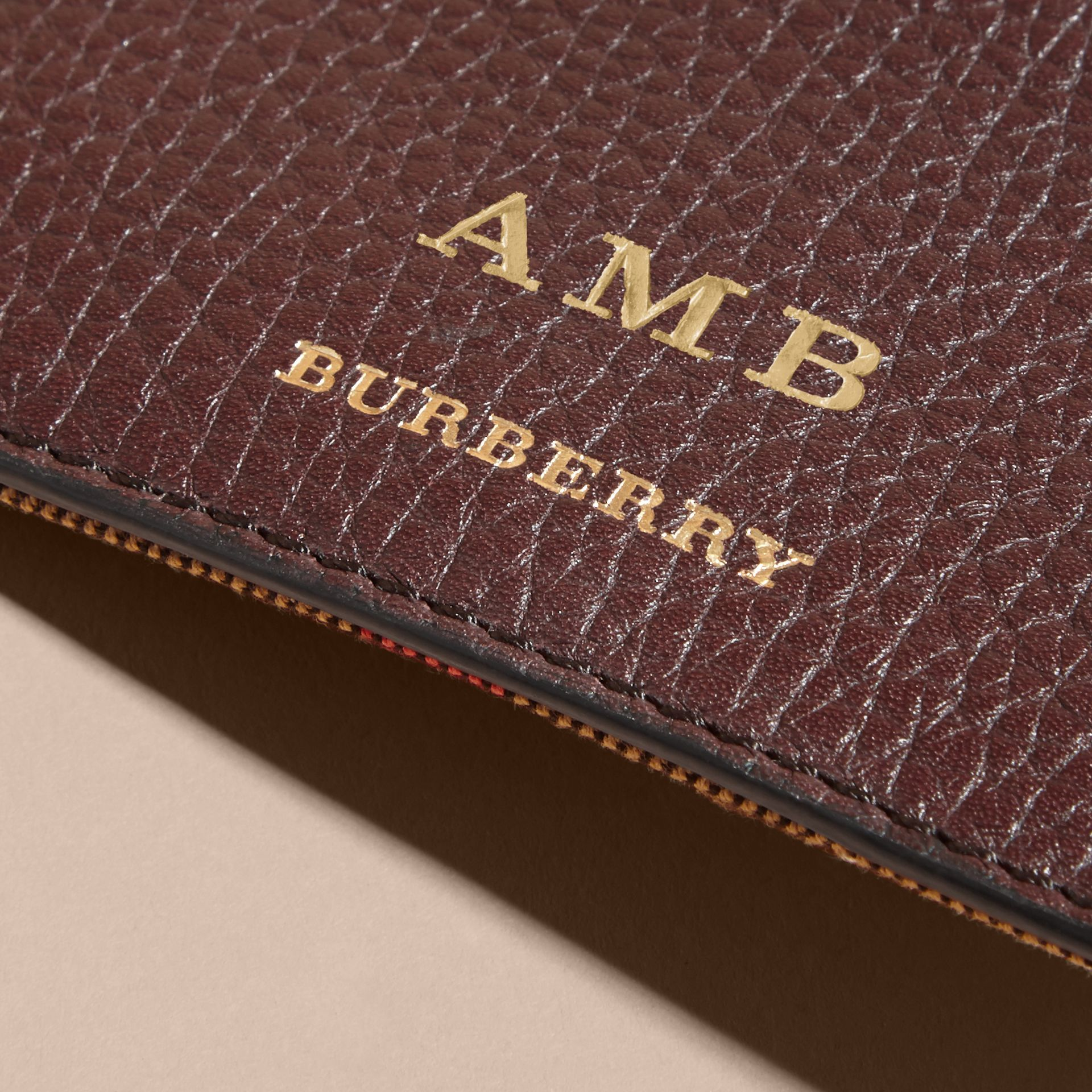 House Check and Grainy Leather Card Case in Wine | Burberry - gallery image 7