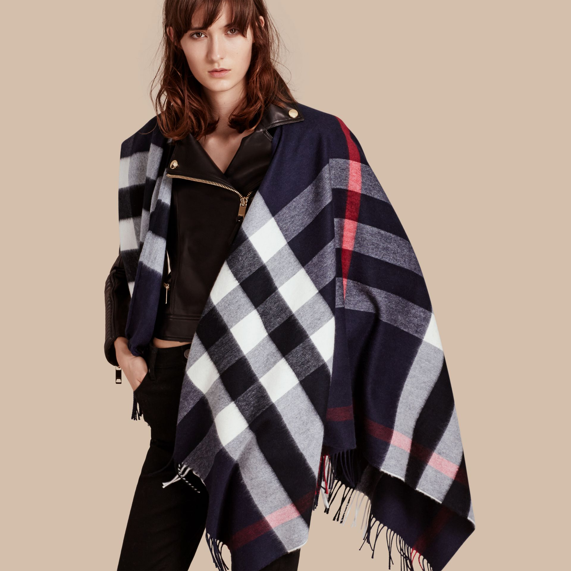 Check Cashmere and Wool Poncho in Navy - Women | Burberry - gallery image 1