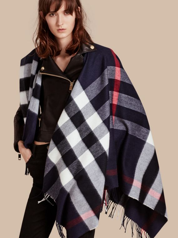 Check Cashmere and Wool Poncho in Navy - Women | Burberry Australia