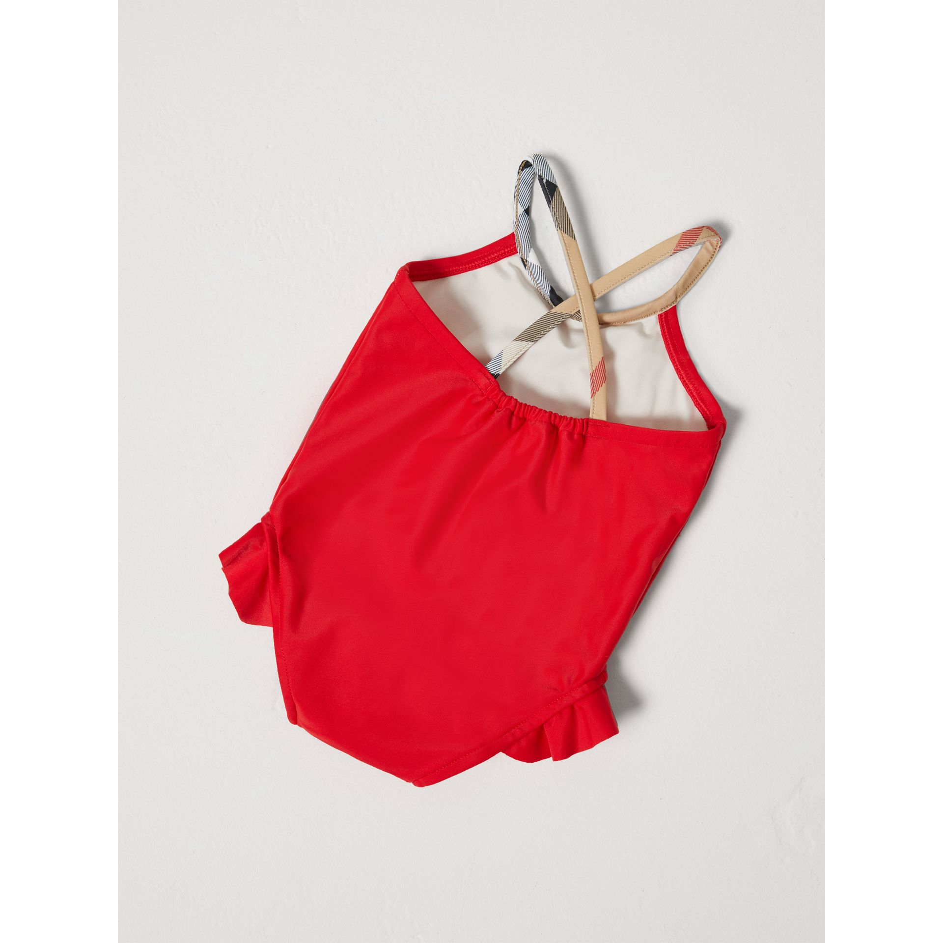 Check Detail One-piece Swimsuit in Poppy Red - Children | Burberry - gallery image 2