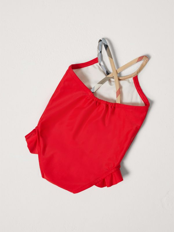 Check Detail One-piece Swimsuit in Poppy Red - Children | Burberry - cell image 2