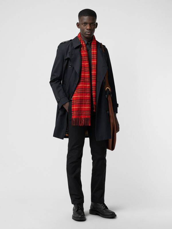 The Classic Vintage Check Cashmere Scarf in Military Red | Burberry - cell image 3