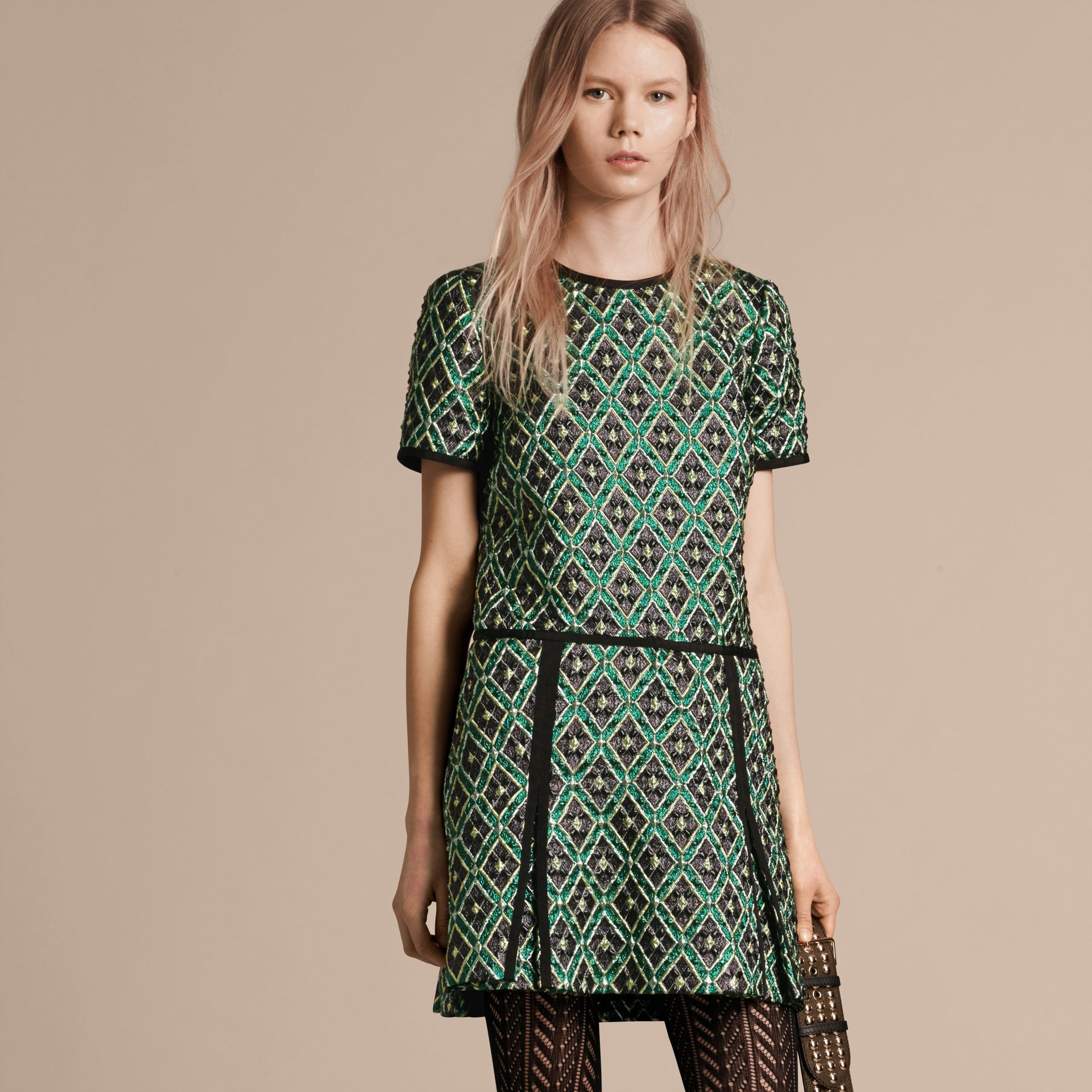 Deep green Patchwork Check Jacquard Dress - gallery image 7
