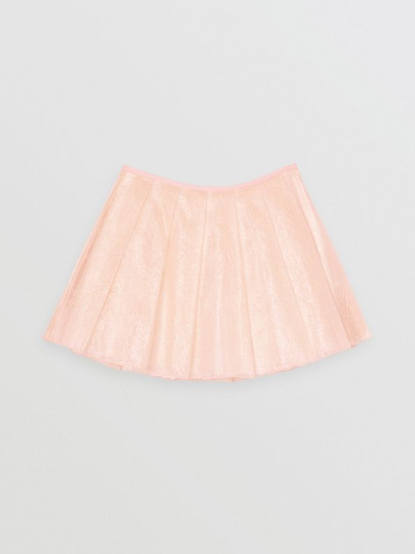 Pleated Laminated Lace Skirt in Pale Pink