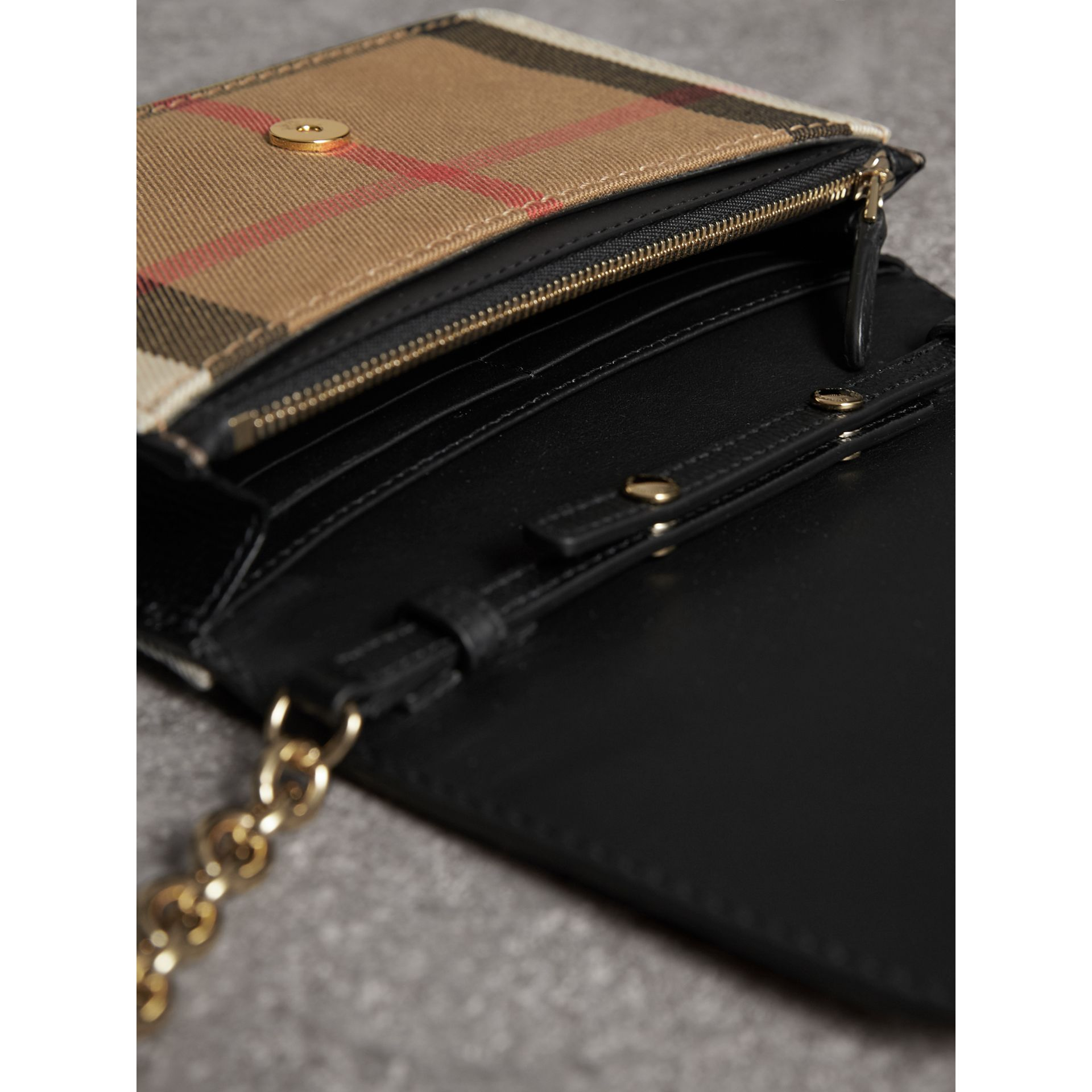 Leather and House Check Wallet with Detachable Strap in Black - Women | Burberry - gallery image 6